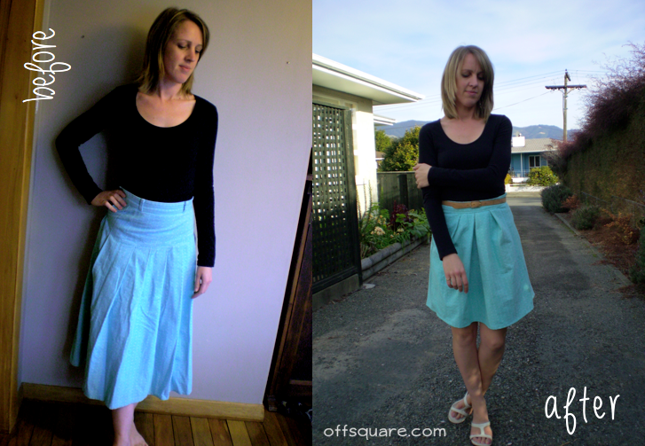 mint skirt refashion before & after