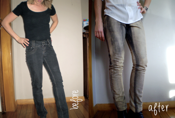 offsquare.com | Refashion jeans by hanging them in the shower and throwing bleach at them