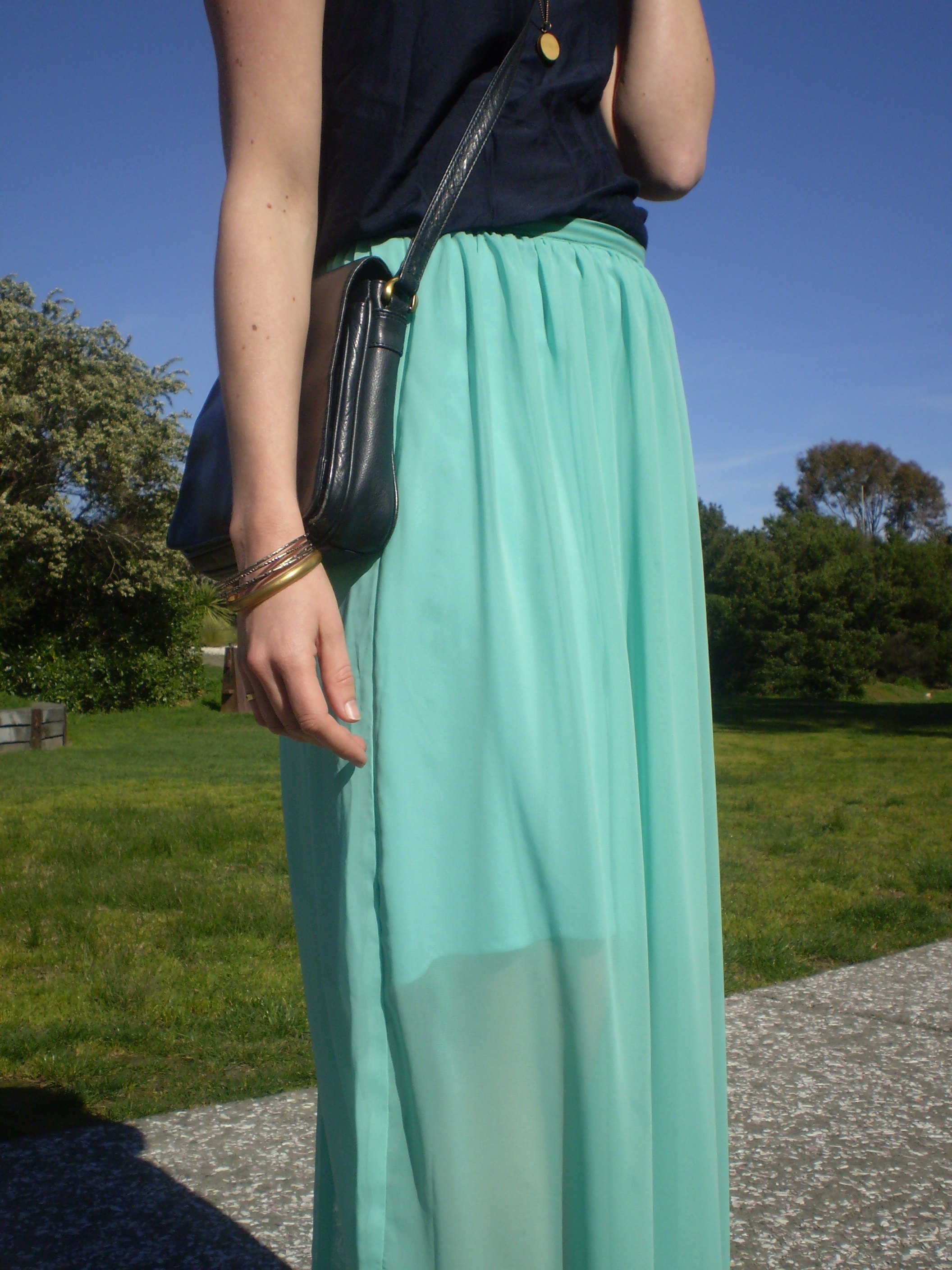 Mint Chiffon Maxi Skirt | Offsquare