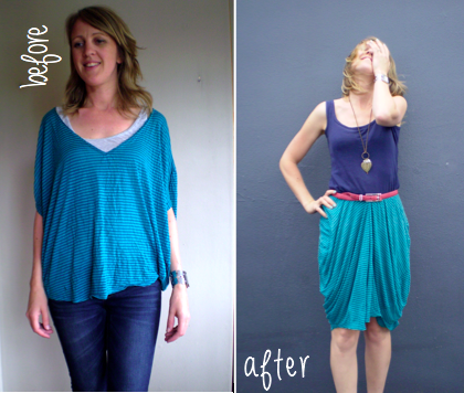 Offsquare.com | Refashion a batwing top into a skirt. I could do this!